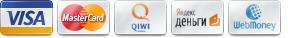 Принимаем к оплате: visa, mastercard, webmoney, qiwi, яндекс деньги